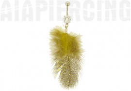 DESTOCKAGE Piercing nombril plumes pois jaunes