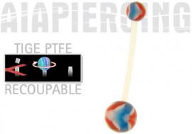 piercing nombril PTFE vagues bleues et rouges