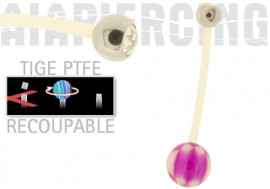 piercing nombril damier violet cristal blanc