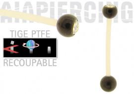piercing nombril acier noir cristal blanc