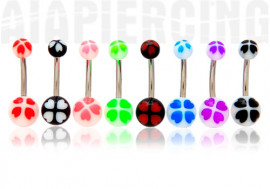 Piercing nombril acrylique trefle