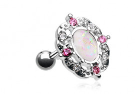 Piercing Opale Hélix-Tragus style fleur Rose et Blanc