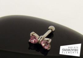 Piercing cartilage ou tragus noeuds de cristaux roses