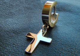 Boucle d'oreille acier articulée croix