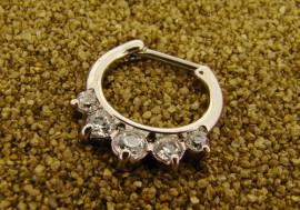 Piercing septum 1,2mm acier et cristaux blancs