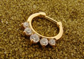 Piercing septum 1,2mm plaqué-or et cristaux blancs