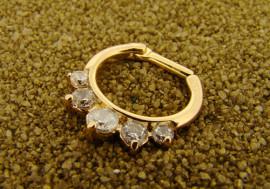 Piercing septum 1,6mm plaqué-or et cristaux blancs
