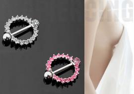 Piercing téton cercle pavé de cristaux