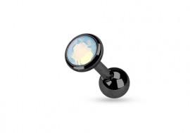 Piercing cartilage ou tragus acier noir opalite blanche