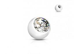 Accessoire piercing bille acrylique et strass blanc 1,2mm