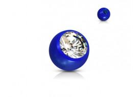 Accessoire piercing bille acrylique et strass bleu 1,2mm