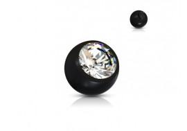 Accessoire piercing bille acrylique et strass noir 1,2mm
