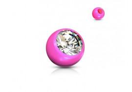 Accessoire piercing bille acrylique et strass rose 1,2mm