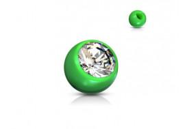 Accessoire piercing bille acrylique et strass vert 1,2mm