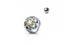Piercing accessoire bille cristal blanc irisé