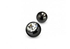 Accessoire piercing bille noire anodisée strass 1.2mm