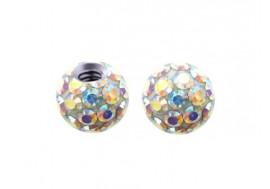 Accessoire piercing bille cristal autriche blanc irisé 1,2mm