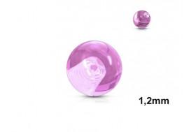 Accessoire piercing bille acrylique rose 1,2mm