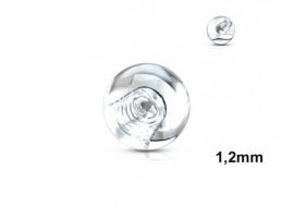 Accessoire piercing bille acrylique transparente 1,2mm