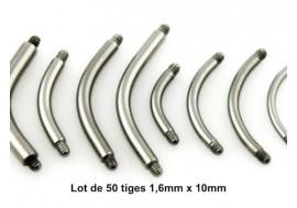 LOT accessoires piercing 50 Barres courbées 1.6mm x 10mm