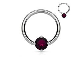 Piercing anneau BCR et pierre griffée violet