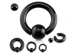 Piercing anneau gros jonc boule clipsée noir