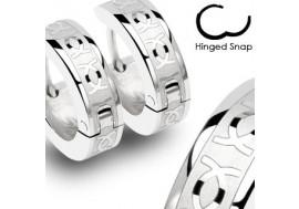 Boucle d'oreille anneau acier signe astrologique