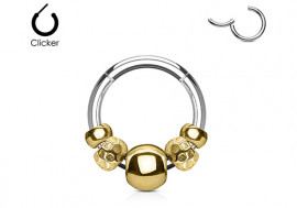 Piercing anneau breloque plaqué or