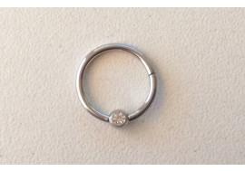 Piercing anneau clipper strass blanc