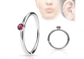 Piercing anneau de nez cristal rose