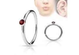 Piercing anneau de nez cristal rouge