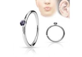 Piercing anneau de nez cristal tanzanite