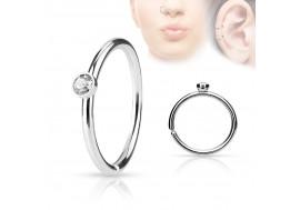 Piercing anneau de nez strass blanc