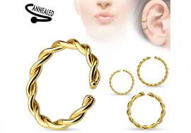 Piercing anneau cordage doré