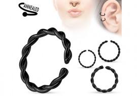 Piercing anneau cordage noir