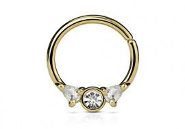 Piercing anneau or et strass