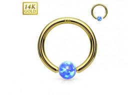 Anneau de piercing en or 14 carats et opalite bleue