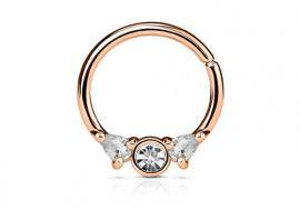 Piercing anneau or rose et strass