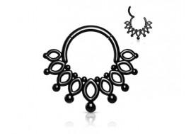 Piercing Anneau clipper couronne noire