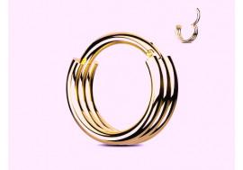 Piercing anneau segment clippé double doré rose