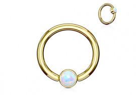Piercing anneau BCR plaqué or opale blanche