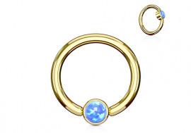 Piercing anneau BCR plaqué or opale bleue