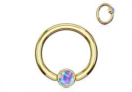Piercing anneau BCR plaqué or opale violette