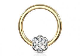 Piercing anneau BCR multistrass plaqué or