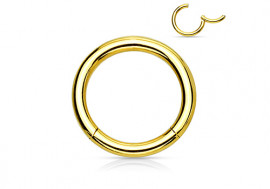 Piercing anneau à segment clippé plaqué or