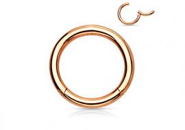 Piercing anneau à segment clippé plaqué or rose