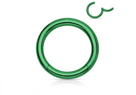 Piercing anneau à segment clippé vert