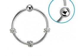 Piercing nez anneau argent massif 925 noeud et boule