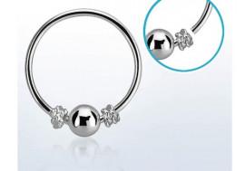 Piercing nez anneau argent massif 925 noeud et bille