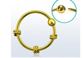 Piercing nez anneau argent massif 925 vermeil noeud